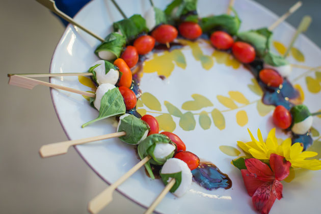 Tomato, bocconcini and basil skewer