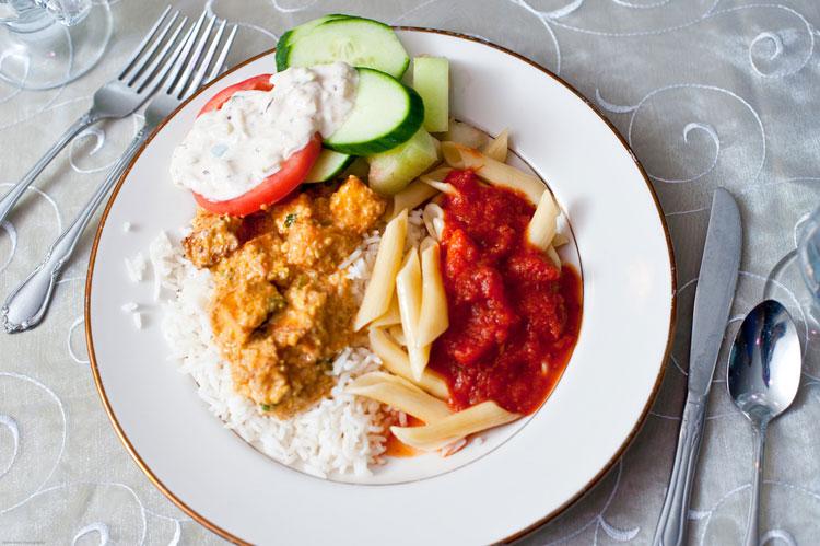 Indian Wedding Entree Plated Food