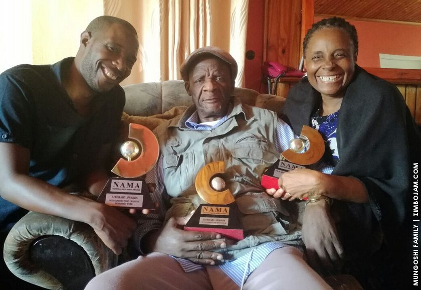 Farayi, Charles and Jesesi Mungoshi with their NAMA awards.