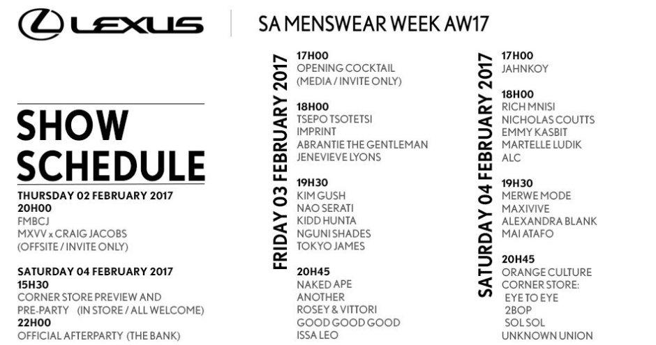 SA Menswear Week 2017 Schedule