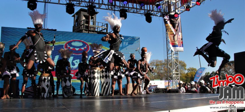 Flying to victory, members of the 2018 winning group in traditional dance category, Guruve Marimba caught in mid-air as they stage their prize winning act. PIC: T. CHIHAMBAKWE | ZIMBOJAM.COM