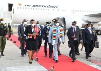 President Mnangagwa arrives for Hichilema's inauguration