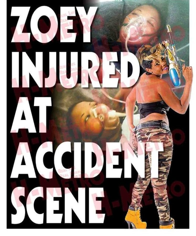 Zoey injured at accident scene