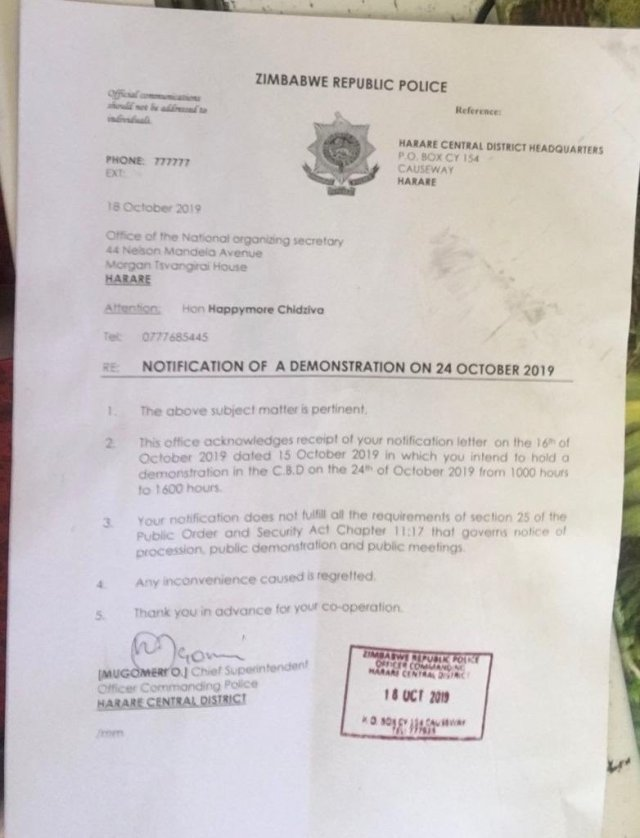 MDC Anti Sanctions Counter Demo Banned