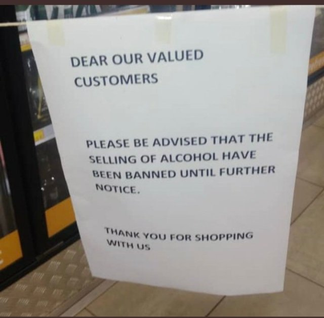 Some Zimbabwean Supermarkets have started to comply with COVID-19 restrictions and they have stopped selling alcoholic beverages.