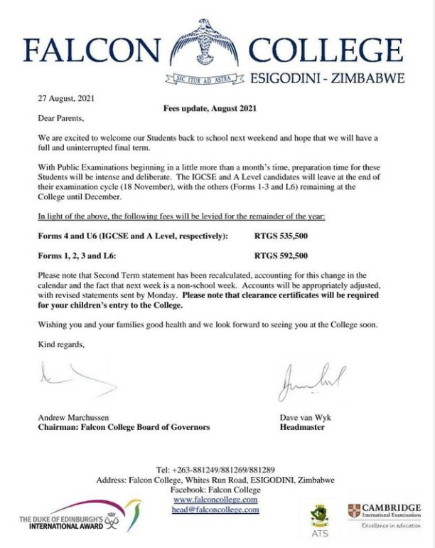 Falcon College Hikes Fees To Half a Million!