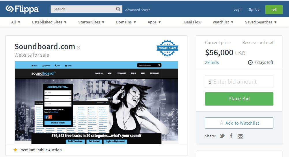 domain auction at flippa on 05-05-2015