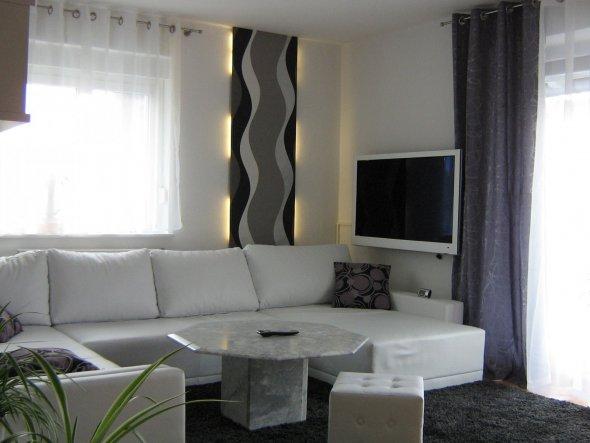 Wohnzimmer Farbe Grau Gruen