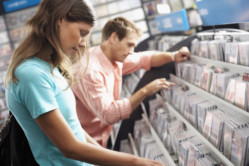 People in record store
