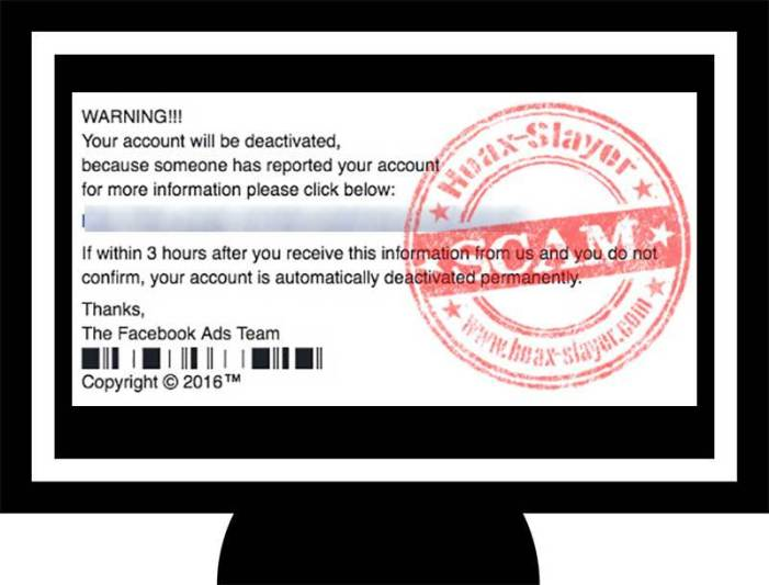 Facebook Phishing Scam: 'Your Account Will Be Deactivated'