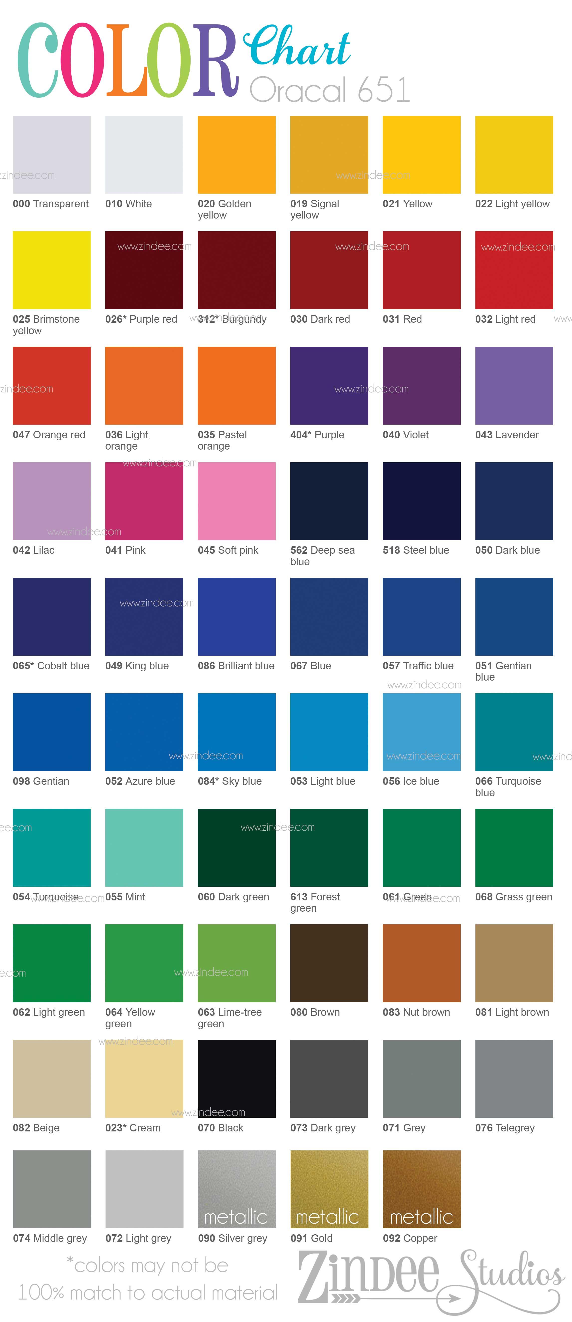 Oracal 651 Color Chart Zindee Studios