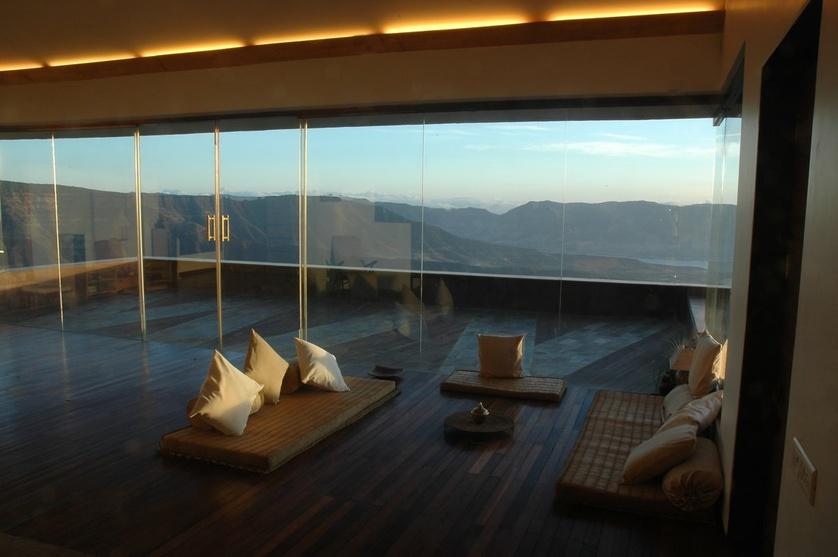 Zen Living Room with Glass Windows