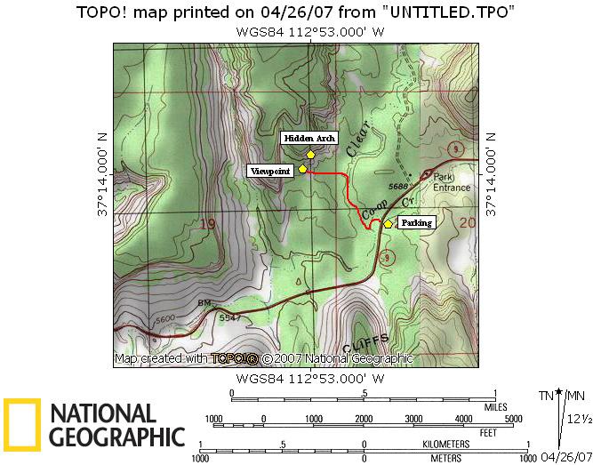Canyon Map Road Kolob Zions Park