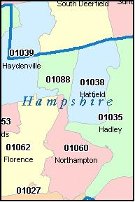 AMHERST Massachusetts MA ZIP Code Map Downloads