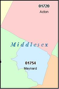 MIDDLESEX County Massachusetts Digital ZIP Code Map