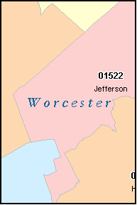 WORCESTER County Massachusetts Digital ZIP Code Map