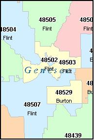 Flint Michigan Mi Zip Code Map Downloads