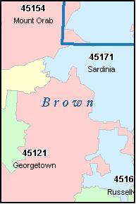 BROWN County Ohio Digital ZIP Code Map