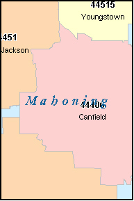 MAHONING County Ohio Digital ZIP Code Map