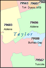 ABILENE Texas TX ZIP Code Map Downloads