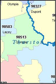 THURSTON County Washington Digital ZIP Code Map