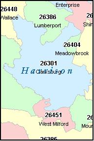 HARRISON County West Virginia Digital ZIP Code Map