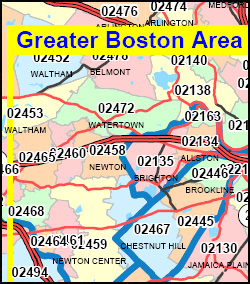 Massachusetts ZIP Code Map including County Maps