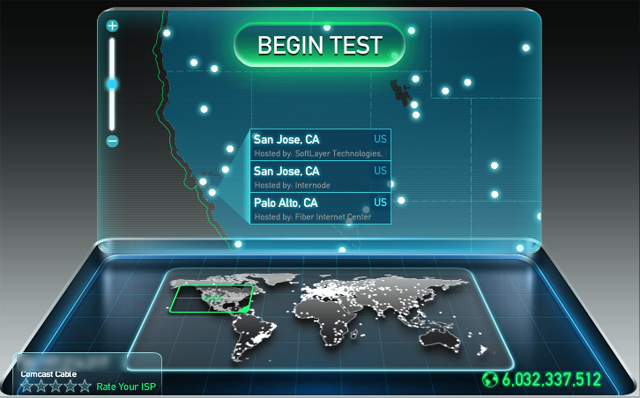 Select as west coast server at speedtest.net