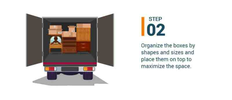 Step #2 Organize the boxes by shapes and sizes and place them on top to maximize the space.