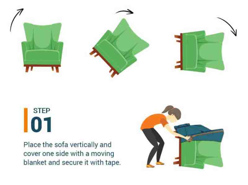 Step #1 Place the sofa vertically and cover one side with a moving blanket and secure it with tape.