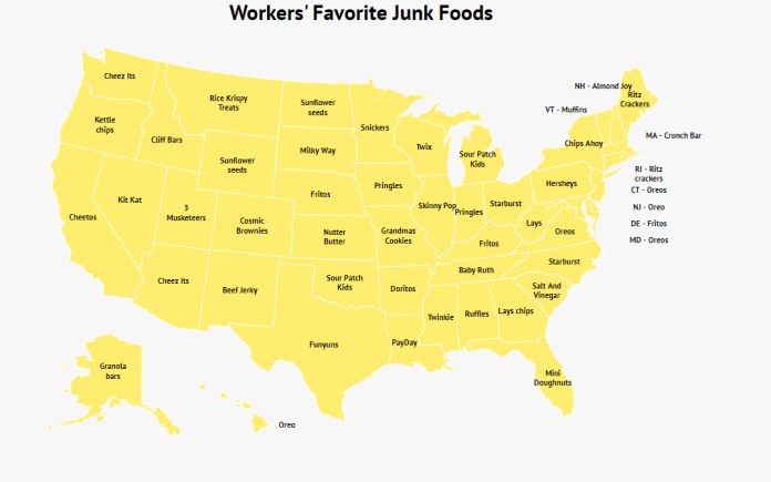 Find out which is the favorite junk food of each state