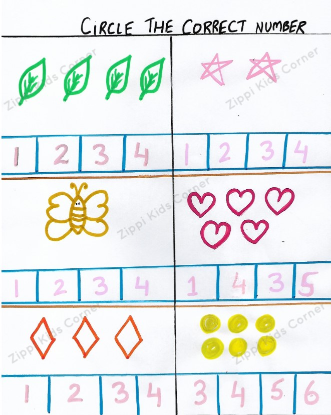 Count the objects and choose the correct number worksheet for preschoolers and toddlers