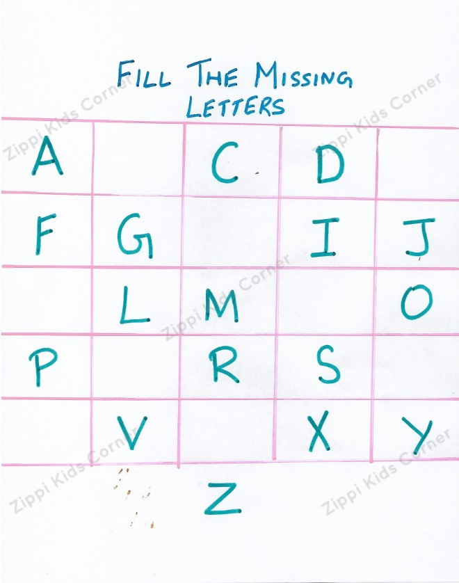 Fill in the missing alphabets DIY Worksheets for NURSERY LKG UKG AND PRESCHOOL
