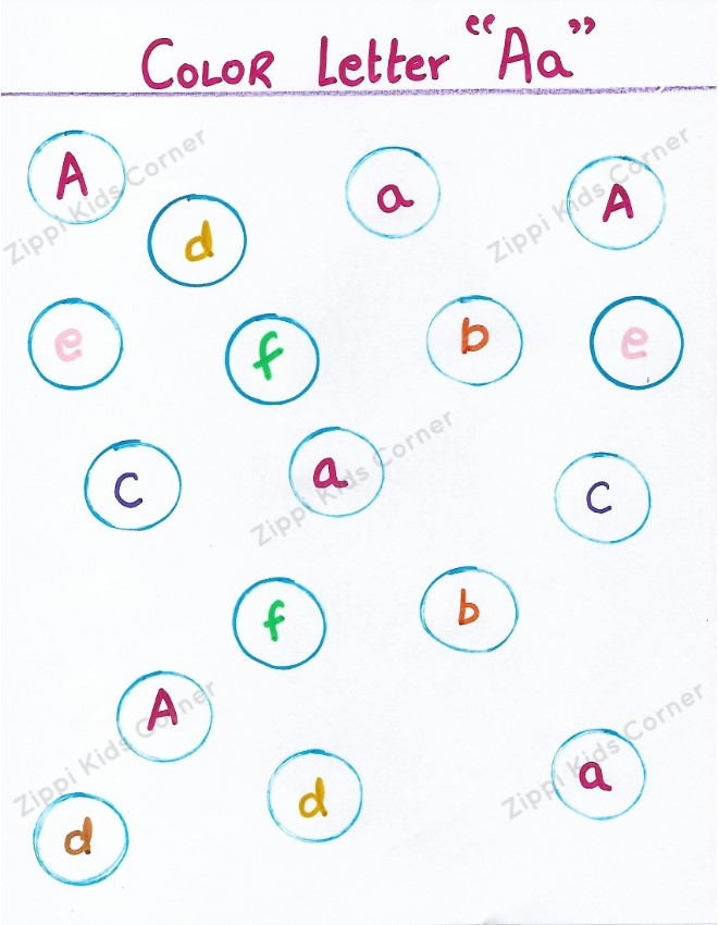 Letter A (uppercase and lowercase) DIY Worksheets for NURSERY LKG UKG AND PRESCHOOL