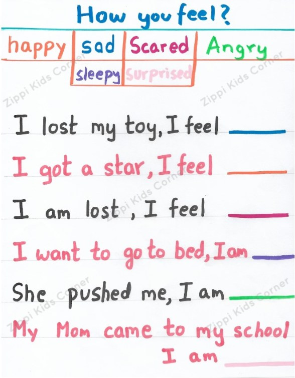 Feelings and Emotions worksheets for Preschoolers, lkg ,ukg and toddlers.
