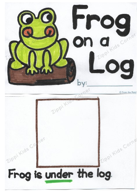 Cut and Paste Prepositions Worksheets- Frog on the Log