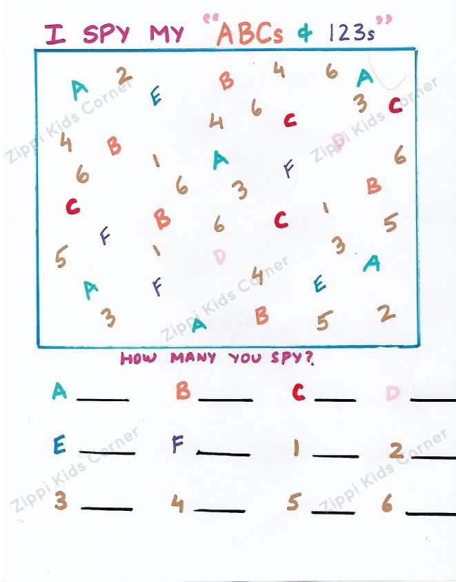 I SPY Letters AND Numbers DIY Worksheets