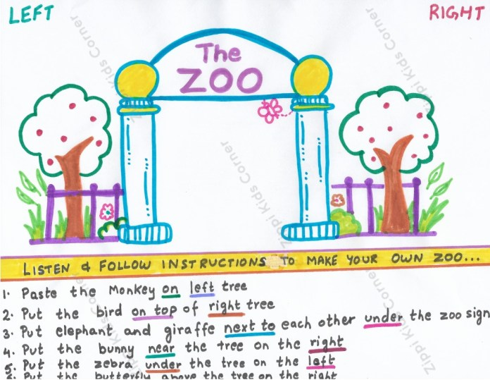 Zoo Prepositions worksheet