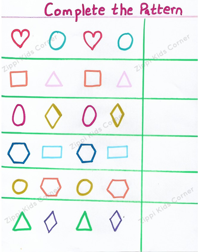 Basic Shapes Worksheets complete the pattern for NURSERY,PRESCHOOL