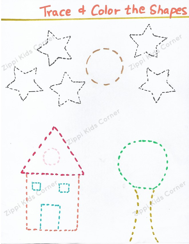 Basic Shapes Worksheets tracing pictures for NURSERY,PRESCHOOL