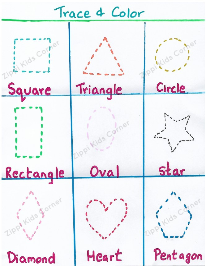 Basic Shapes Worksheets tracing for NURSERY, PRESCHOOL
