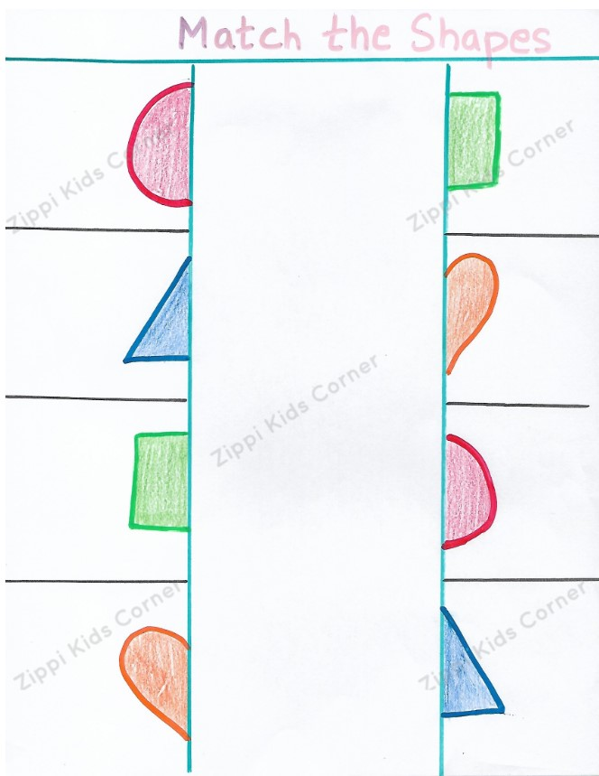 Basic Shapes matching Worksheets  for NURSERY, PRESCHOOL