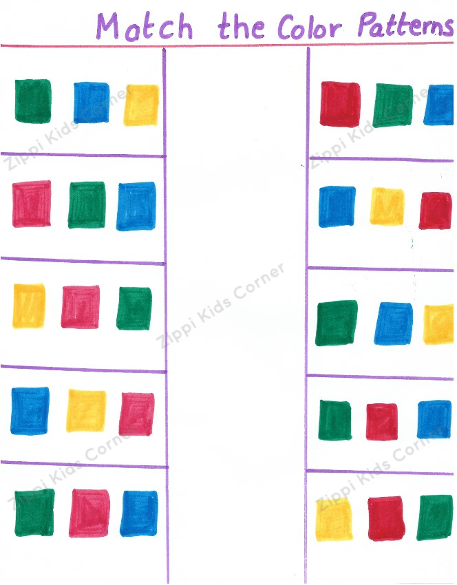 Match the color patterns, brain teaser, visual perception worksheet for preschool and kindergarten