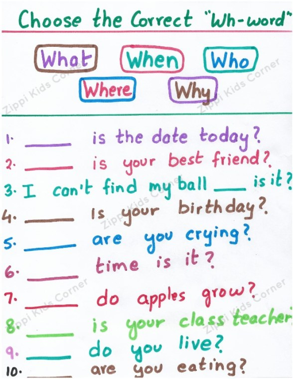 Wh-questions worksheet for LKG UKG and Kindergarteners. Speech therapy worksheets