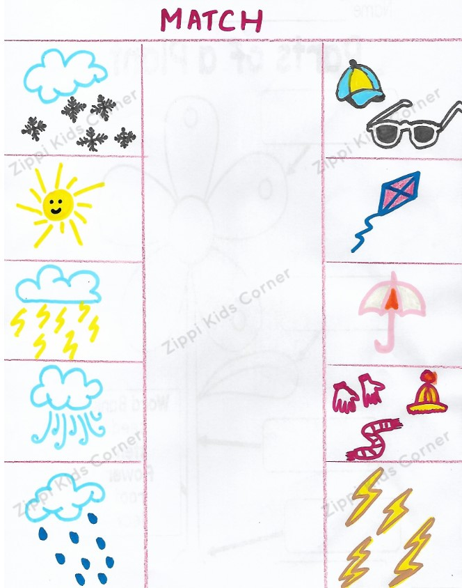Weather worksheets for Nursery,LKG,Preschoolers.
