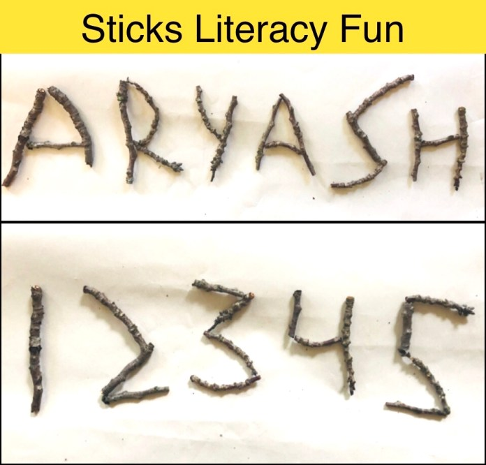 Sticks Literacy Activity with nature