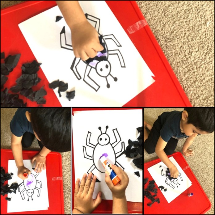 Fine motor skills, Pasting and ripping paper