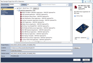 In Atmel Studio 7, you'll find that 238 example projects are available for the SAM D21 Xplained Pro board. Nice!