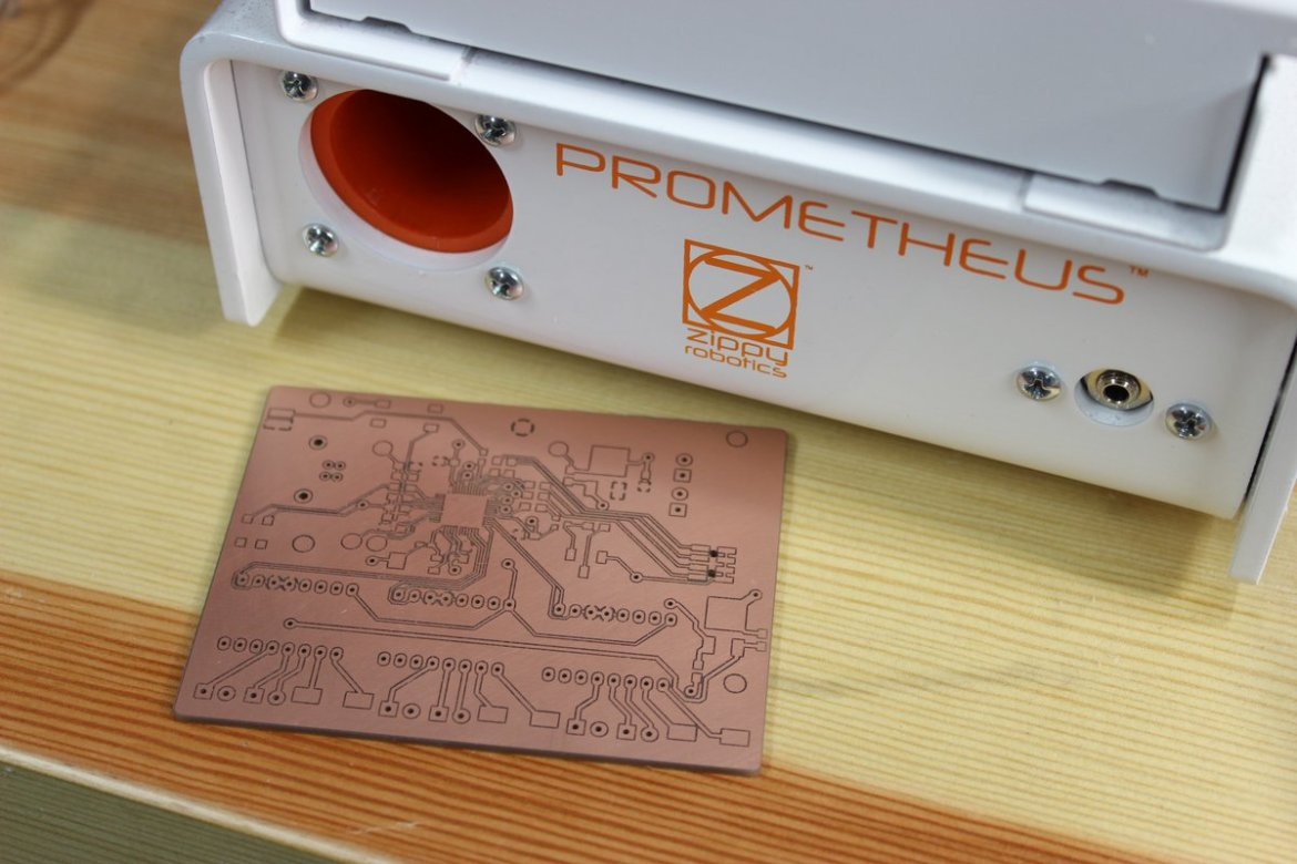 Prometheus Pcb Milling Machine Zippy Robotics Inc Circuit Board Assembly Is A Printed It Works By Or Carving Engraving Your Design Into Standard Copper Clad