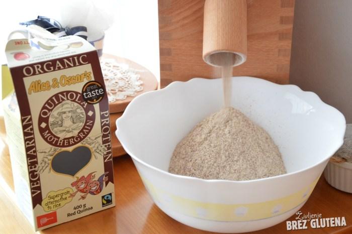 brezglutenski kvinojin kruh z indijskim trpotcem